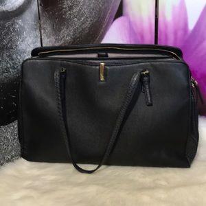 TUTILO Black Embossed Laptop Shoulder Handbag